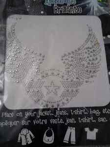 Iron on rhinestone silver tone angel wings decor fabric decor London Ontario image 1