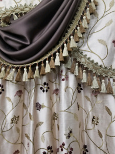 Two sets of Silk Curtains with Valences