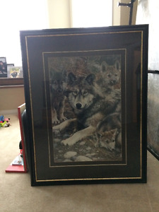 Excellent Condition Large Family Wolf Picture
