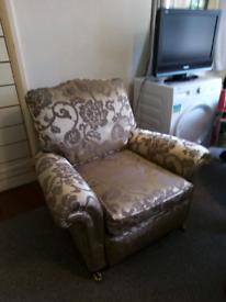 Duresta armchair fabric bronze gold