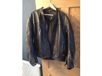 Leather biker jacket with armour inserts