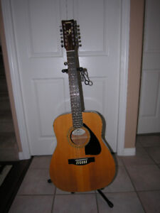 12 string Yamaha guitar with soft carrying bag