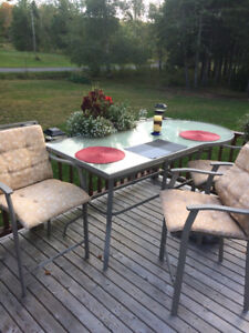 Large BAR patio table with 6 high chairs