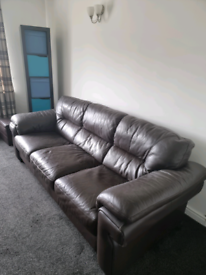 Three seate leatherr sofa and leather recliner