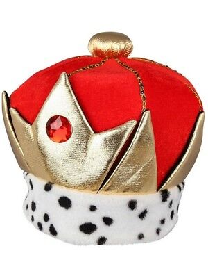 Mens Adult Deluxe Soft Red And Gold Jewelled Royal Queen King Prince Crown Hat