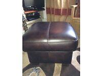 Brown leather storage stool