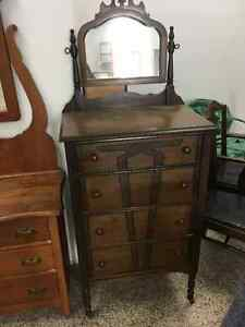 Antique Walnut 4 Drawer Dresser with Mirror