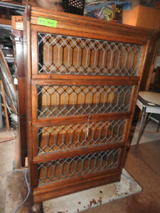 antique barrister bookcase, 4 level, all lead doors, restored