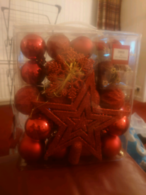 Box of 50 red Christmas decorations. BNWT
