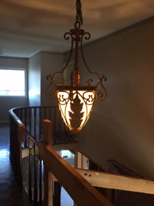 Wrought Iron Chandelier with Two Matching Ceiling Fixtures