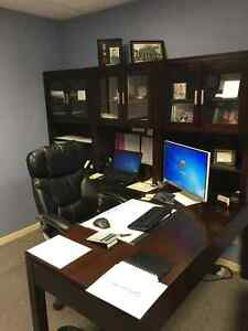 Office desk and cabinets with 3 hutches