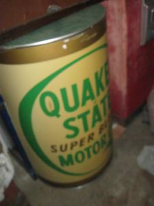RARE ORIGINAL1950'S HUGE QUAKER STATE LIGHT UP OIL CAN SIGN!