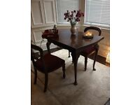 Queen Anne legs antique table and Victorian chairs