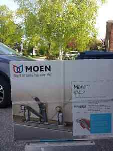 MOEN CHROME KITCHEN FAUCET WITH SPRAYER AND SOAP DISPENSER