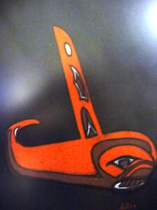 "Blackfish Artist, Original Haida Mask Pastel, Shawn Aster ""Orca"" Stratford Kitchener Area image 5"