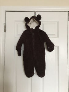 Infant Brown Bear Hooded Snowsuit (0-3M)  with Extra Warm Hats