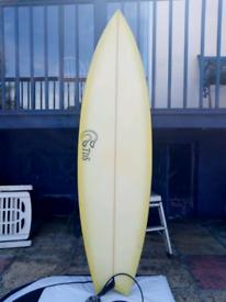 6.6 Fish Surfboard quad fins leash and New bag in mint condition for sale  Barnstaple, Devon