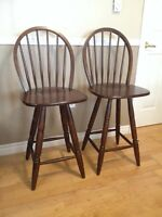 Solid wood bar chairs, two for $95