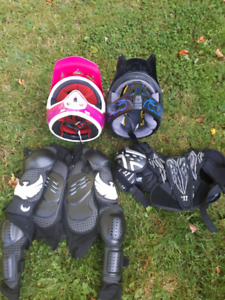 Kids protective gear and dirt bike helmets