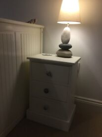 Cream painted solid wood bedside table
