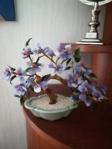 Vintage Chinese Art Glass Bonsai Tree