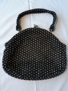 Vintage Corde & Bead by Lumured Black Beaded Handbag / Purse