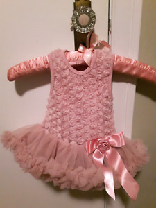 Dusty pink rosette dress