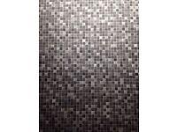 Lino vinyl flooring 2.00m X 1.23m - black grey silver mosaic print