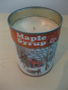 Eco-friendly maple syrup scented candle in souvenir tin can