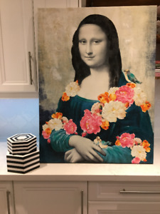 Large stretched canvas of Mona Lisa in her Flower Phase