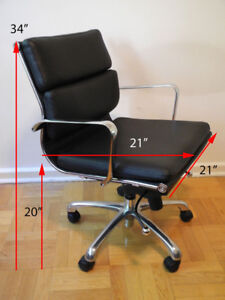 Replica ~ Eames Style Office Chair ~ Padded back Chrome Swivel