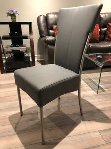 Set of 4 Grey Leather Kitchen Chairs