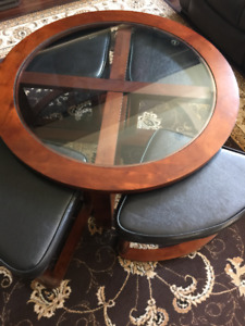 Coffee Table with Four Wedge Stools