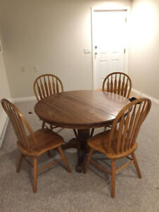Oak Pedestal Table and Chairs