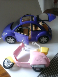 Barbie VW BEETLE AND VESPA SCOOTER Barbie car bike