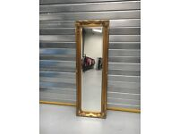 Vintage antique gold guilted ornate mirror. Full length