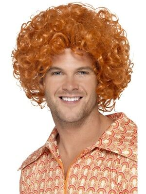 Ginger 1970's Disco Curly Afro Wig Adult Mens Smiffys Fancy Dress - Ginger Afro Wig