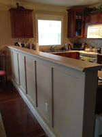 """Laminate counter top for half wall room divider, 11'9"""" x 9""""."""
