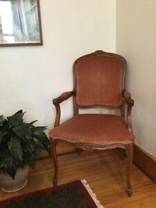 Two wooden chairs, velvet upholstery