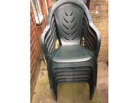 6 Green Garden Chairs