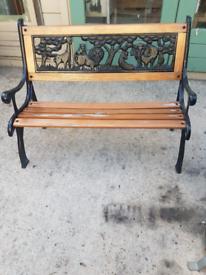 Vintage Child's Garden Bench Animals Wood/Metal