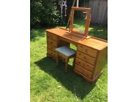pine dressing table in great condition, comes with mirror, and stool