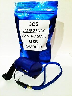 -  Emergency Power USB Hand Crank SOS Phone Charger Camping Bank Survival Kit Gear