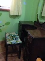 Antique girls vanity with matching stool