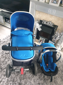 Mothercare Journey Pram and carseat with rain hood and accessories