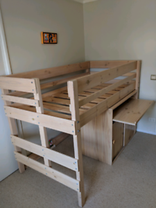 Bunkers Kids Loft bed with desk cupboard and drawers