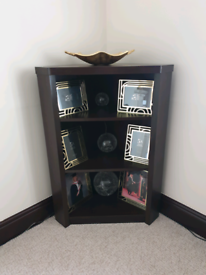 Mahagony corner unit with three shelves