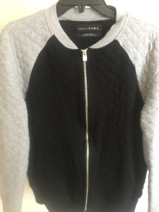 Zara Mens black and grey quilted jacket