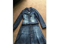 Oasis denim jacket and skirt set