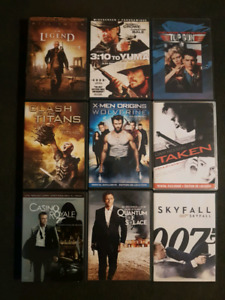 9 action DVDs. James Bond, Taken, and much more